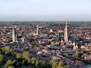 Aerial view of Bruges from hot air balloon