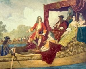 George Frideric Handel (left) and King George I on the River Thames, 17 July 1717, by Edouard Hamman (1819–88)