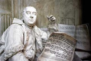 Westminster Abbey, Monument to George Frederic Handel in the south transept, detail