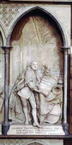 Westminster Abbey, Monument to George Frederic Handel in the south transept