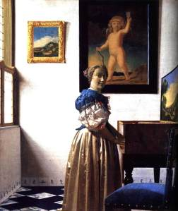 Johannes Vermeer, A Young Woman Standing At A Virginal, 1670