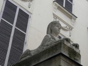 Terracotta sphinx, Hotel de Luzy, 6 Rue Ferou