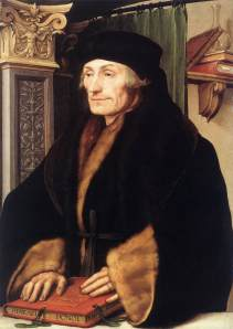 "Desiderius Erasmus in 1523 as depicted by Hans Holbein the Younger. The Greek and Latin words on the book translate to ""The Herculean Labours of Erasmus of Rotterdam""."