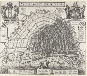 Amsterdam in all its glory. The map shows how the expanded canal ring gave the city a wide harbour front. Towards the west, the Jordaan district was built, an area of cheaper housing for the working classes. Here the narrow streets and canals follow the line of the original fields, with their drains and ditches.