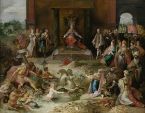 Allegory on the Abdication of Emperor Charles V in Brussels, Frans Francken (II), c. 1630 - c. 1640