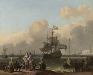 """Het IJ at Amsterdam with the Frigate 'De Ploeg' "", Ludolf Bakhuysen, 1680 - 1708"