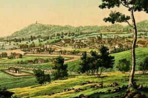 Bertuch's Hobart Town – hand-coloured copper-plate from 'Picture Book for Children' published in 1821.