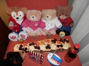 Huon pine cheese board from Enchanted Woods; Tasmanian salmon, Tasmanian cheese and Sorell cherries