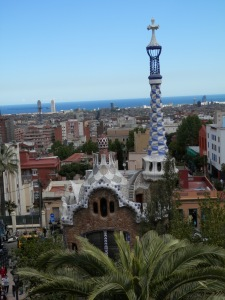The two buildings at the entrance to Park Güell