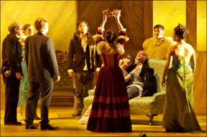 Michael Slattery as Orfeo and Megan Monaghan as Euridice in Glimmerglass Opera's production of Monteverdi's L'Orfeo