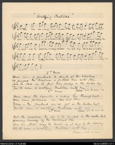 Original manuscript Waltzing Matilda music and lyrics