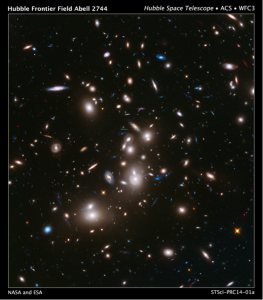 Galaxy Cluster Abell 2744, with lensed light arcs from background galaxies. Credit: NASA and ESA