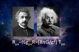 Einstein's revolutionary equation says that the curvature of space-time equals the distribution of matter plus energy.