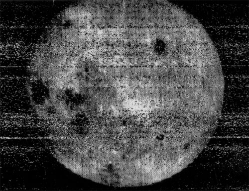 The first image returned by Luna 3 showed the far side of the Moon was very different from the near side, most noticeably in its lack of lunar maria (the dark areas)