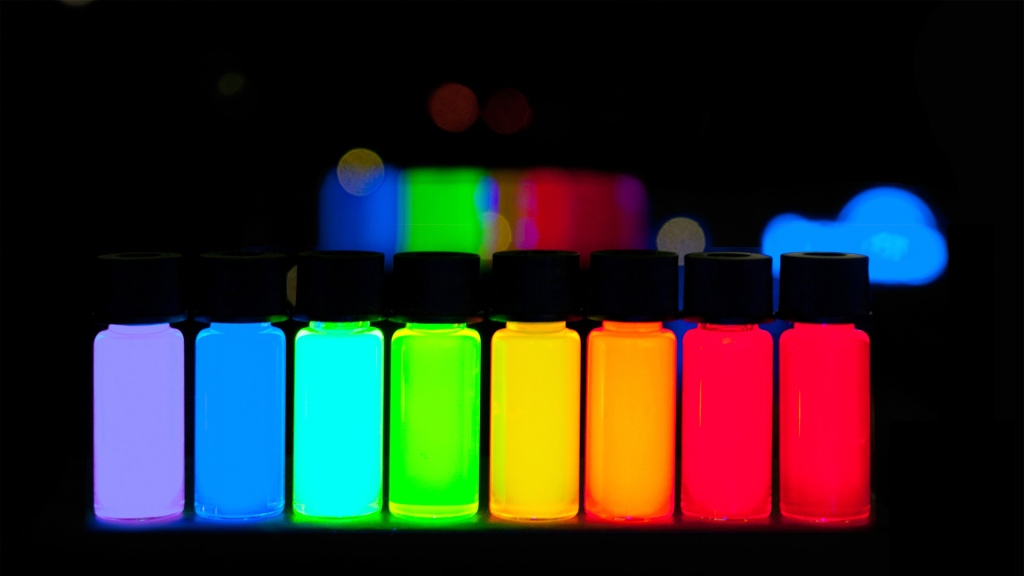 Quantum Dots with gradually stepping emission from violet to deep red.