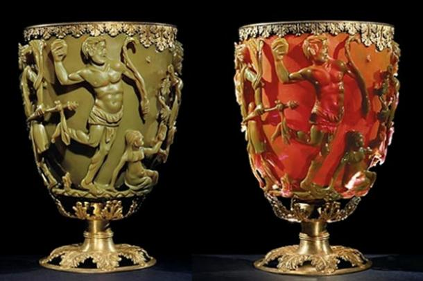 The Lycurgus Cup at the British Museum, lit from the outside (left) and from the inside (right)