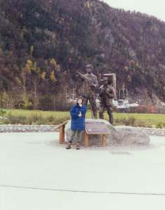 The Skagway Centennial Statue -  Tlingit Packer leading a prospector up the trail in 1897 - Statue dedicated 3 July 1997