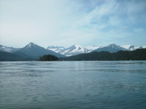 The Juneau Icefields and Mendenhall Glacier rise above Auke Bay