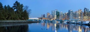 Vancouver skyline and marina  from Stanley Park
