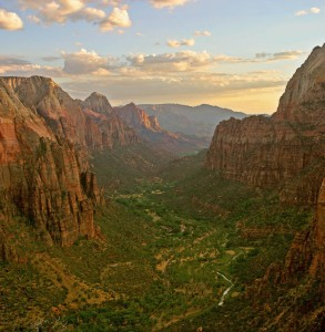 Zion Canyon as seen from the top of Angels Landing at sunset