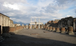 Basilica, ancient Pompeii's law court and a center of commerce, with its lower-level colonnade fairly intact