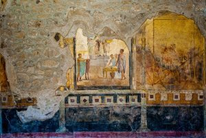A fresco in the House of the Amorini Dorati, or the House of the Gilded Cupids