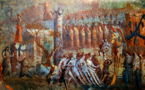 Fresco - Arrival of the Trojan Horse from the House of Menander