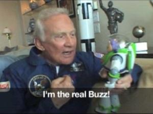 Buzz Aldrin with Buzz Lightyear