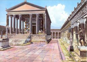 Illustrated reconstruction, from a CyArk/University of Ferrara research partnership, of how the Temple of Apollo may have looked before Mt. Vesuvius erupted