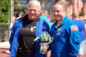 Buzz Aldrin, Mike Finke and Buzz Lightyear