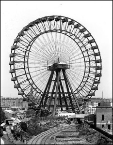 The 94 m Great Wheel at Earls Court, London, world's tallest Ferris wheel 1895–1900