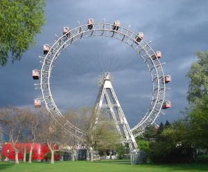 Wiener Riesenrad, Vienna, built in 1897, originally had 30 passenger cabins but was rebuilt with 15 cabins following a fire in 1944