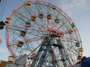 Wonder Wheel, a 45.7-metre (150 ft) tall eccentric wheel at Deno's Wonder Wheel Amusement Park, Coney Island, was built in 1920 by the Eccentric Ferris Wheel Company