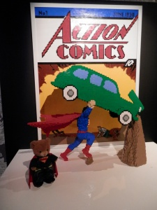 The famous first Superman comic cover is re-created for The Art of the Brick: DC Comics.