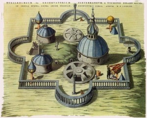 General view of the Observatory of Uraniborg, constructed circa 1584 by Tycho Brahe