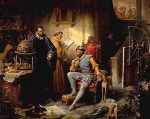 Tycho Brahe demonstrating a celestial globe to Emperor Rudolph II, a painting by Eduard Ender, 1855