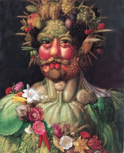 Rudolf painted as Vertumnus, Roman God of the seasons, by Giuseppe Arcimboldo (1590–1). Rudolf greatly appreciated the work.