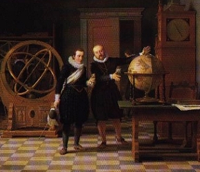 15 year old King Christian IV with Tycho Brahe at Uraniborg in 1592. Brahe left the observatory on Hven 5 years later, due to a heavy dispute between the King and him.