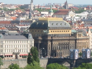 National Theatre seen from Tower of St Nicholas Church Lesser Town, Prague