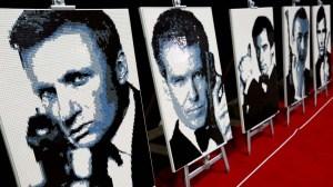 Lego portraits of James Bond actors Daniel Craig, Pierce Brosnan, Timothy Dalton, Sean Connery and George Lazenby, by Ryan McNaught