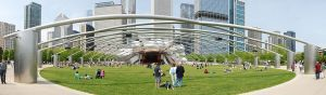 Panoramic view of the Great Lawn, trellis, and bandshell at Jay Pritzker Pavilion in May 2009. Wikipedia