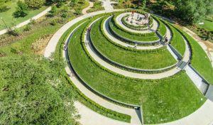 Hermann Park, McGovern Centennial Gardens, Aerial view of the mount