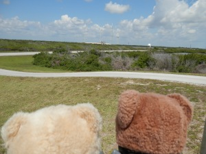 View towards the historic launch complex 39A where the Apollo and space shuttle missions began