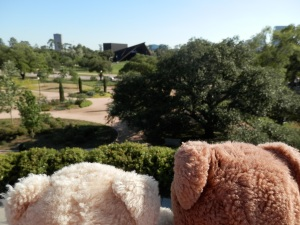 Hermann Park, McGovern Centennial Gardens, View from the mount, Miller Outdoor Theatre in the distance