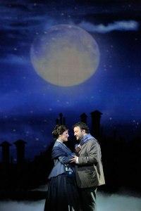 """Nino Machaidze as Mimi and Mario Chang as Rodolfo in LA Opera's 2016 production of """"La Boheme"""". (Photo: Ken Howard)"""
