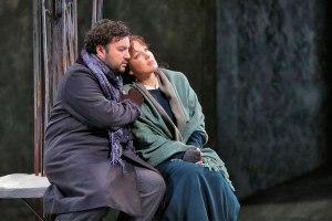 """Mario Chang as Rodolfo and Nino Machaidze as Mimi in LA Opera's 2016 production of """"La Boheme"""". (Photo: Ken Howard)"""