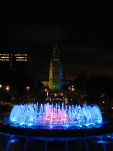 Arthur J. Will Memorial Fountain with Los Angeles City Hall in the background