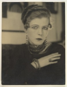 The Met - Nancy Cunard, 1925 Gelatin silver print; 27.5 x 21.2 cm (10 13/16 x 8 3/8 in. ) The Metropolitan Museum of Art, New York, Bequest of Winthrop Edey, 1999 (1999.367.4) http://www.metmuseum.org/Collections/search-the-collections/283335