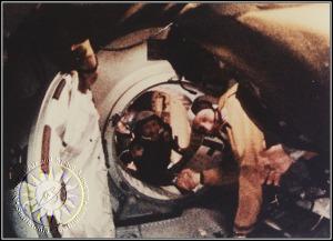 Apollo commander Thomas P. Stafford (right) and Soyuz-19 commander Aleksei A. Leonov (left)