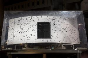 The radiator section (rear end) of WFPC2.  After over 15 years of exposure to space, this surface became a record of the accumulation of debris in low earth orbit.